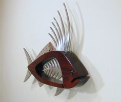 rooster sculpture | Large Rooster Fish Wall Sculpture Metal Fish, Wooden Fish, Fish Sculpture, Wood Sculpture, Wall Sculptures, Fish Wall Art, Fish Art, Welded Furniture, Driftwood Crafts