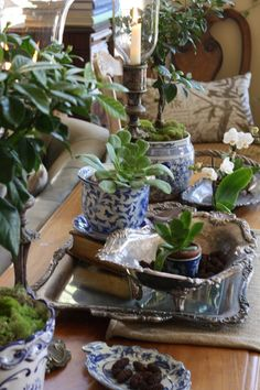 Ahhh, blue & white, tarnished silver, antique book, and succulents