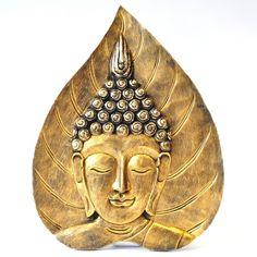 Buddha thailändischer Buddha Holz Gesicht Blatt gold...