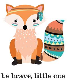Fox Print Nursery Tribal Fox Tribal Nursery by MissellaneousPrints