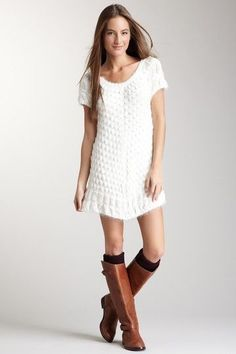 Nice Sweater Dress scoop sweater dress with tall socks and boots... Check more at http://24myshop.tk/my-desires/sweater-dress-scoop-sweater-dress-with-tall-socks-and-boots/