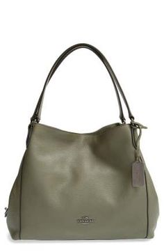 Coach 'Edie' Pebbled Leather Shoulder Bag In Green Bag Coach