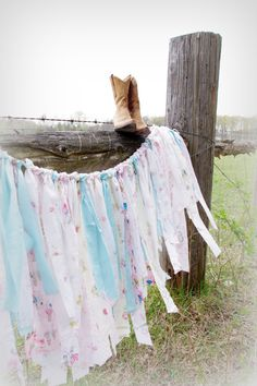 Fabric Garland in Shabby Chic Style by CountryChiq on Etsy, $25.00