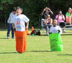 Sack race at the Get Out and Play Day.