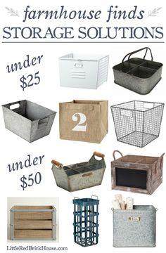 Farmhouse Style Storage Solutions | LittleRedBrickHouse.com