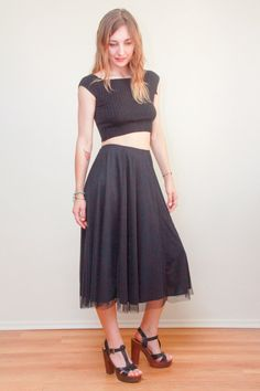 EXPRESS  Midi Skirt  Black Tulle Skirt  Boho by LoneFoxVintage