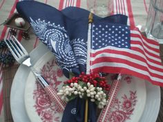 red and blue transferware tablescape   red white and blue tablescape, Memorial Day Table decor, 4th of July ...