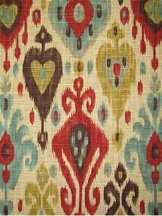 """Django Persian Tribal Ikat print from Richloom Fabrics. 55% flax, 45% viscose Multi purpose fabric for drapery, upholstery, slipcovers or pillow covers. V 25.25"""", H 13.5"""" up the roll repeat. 54"""" wide."""