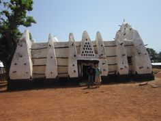 This is an Ancient Mosque found in Ghana. It shows the Islamic religion that was practiced here.