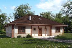 Dom jednorodzinny w stylu tradycyjnym z brązowym czterospadowym dachem