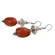Earrings in coral Madrepore