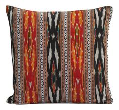 SharePyar Handloom Cushion Cover - Red-Black Traditional Sambalpuri Ikat (Pure cotton yarn dyed handwoven)
