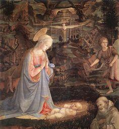 Fra Filippo Lippi, also called Lippo Lippi (1406 – 1469) — Adoration of the Child with Saints,1463    (917×1000)