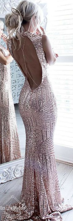 New Arrival Rose Gold Sequin Prom Gown,Prom Dress with Backless Evening Gowns