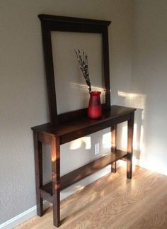 beautiful solid walnut foyer table with mirror