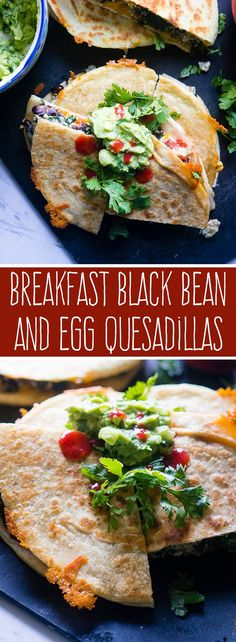 Breakfast Black Bean and Egg Quesadillas. A hearty, protein packed breakfast that will kick start your day with fresh ingredients and bold flavors!