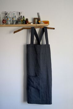 Japanese Linen Apron in Grey. Only one available now on Etsy