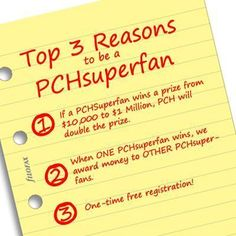 Become A PCH SuperFan … #PCH  im a pch superfan and always will be love pch