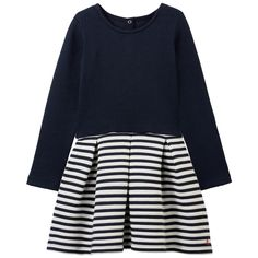 Top: Ribbed cotton jersey Mini skirt: Tube knit Bi-material dress Pleasant to wear Crew neck Flared hem Box pleats on the front and in the back Snap buttons in the back Iconic stripes Logo on the side - $ 79