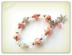 Silver Ornate Daisy Charm, Rainbow pale pink Colours Childrens Bracelet Kids Bracelet Polymer Clay Shamballa Bead UK Childrens Accessories by SimplyPrettyJewels on Etsy
