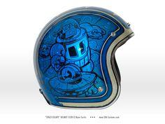 Space Escape - Biltwell helmet painted by SIN Customs artist Ryan Curtis www.SIN-Customs.com