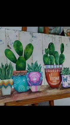 Cactus decoração Cactus Painting, Cactus Art, Painting On Wood, Bullet Journal Art, Country Paintings, Finger Painting, Paint Party, Diy Wall Art, Painting Patterns