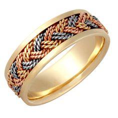 14k Tri-color Gold Men's Comfort-fit Handmade Wedding Band $579.99
