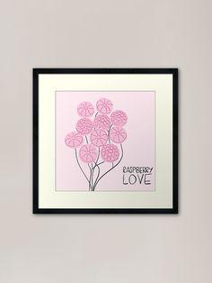 """""""Raspberry love illustration"""" Framed Art Print by nobelbunt Framed Art Prints, Canvas Prints, Love Illustration, Raspberry, Gallery Wall, Stationery, Graphic Design, Illustrations, Artist"""
