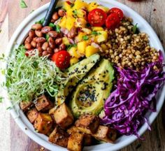 If you haven't heard of buddha bowls they're a healthy and colorful meal in a bowl. They're loaded with fresh vegetables, proteins, grains, and dressings. Enjoy The 11 Best Buddha Bowl Recipes we could find. They made our mouth water! Delicious Vegan Recipes, Vegetarian Recipes, Healthy Recipes, Salad Recipes, Vegan Bowl Recipes, Jar Recipes, Shot Recipes, Avocado Recipes, Apple Recipes