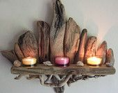 SOLD***Beautiful Driftwood Shelf Candle Sconce By Devon Driftwood