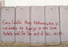 Peacefull demonstration on the wall dividing Israëli and Palestinians.