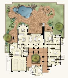 Homestead: This three or four bedroom plan is a wonderful private sanctuary and an inviting haven for entertaining. A magnificent Great Room at the heart of this plan brings family and friends together without sacrificing elegance. The entryway is through The Plan, How To Plan, Dream Home Design, My Dream Home, House Design, Garden Design, Dream House Plans, House Floor Plans, Br House