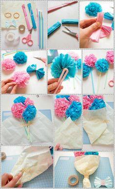 今月は母の日なのでペーパー花束を作ってみました。 用意するもの ☆包装紙 ☆リボン ☆セロハンテープ ☆お花紙 ☆輪ゴム ☆ストロー(折れ曲がるもの) ☆はさみ 家にあったもので作... Diy And Crafts, Crafts For Kids, Arts And Crafts, Paper Ribbon, Candy Bouquet, Origami Easy, Green Flowers, Art For Kids, Crochet Necklace
