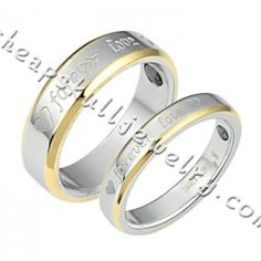 """New Couples Stainless Steel Silver With Gold""""Forever Love""""Theme Pattern Style Rings online $27.88"""