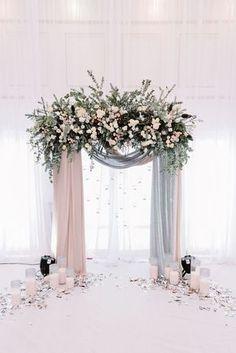 beautiful blush and grey drapery wedding arch ideas #WeddingFlowers