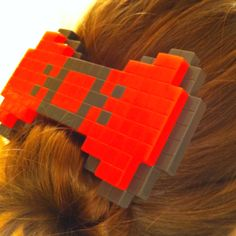 8-bit hair bow!  Clover needs one or two of these!