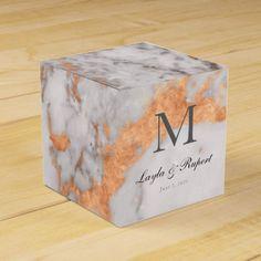 Custom Marble & Copper Wedding Favor Box