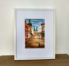 Old Town Square Prague, Tyn church and Astronomical clock  - Watercolor Cityscape painting, Artwork Architectural