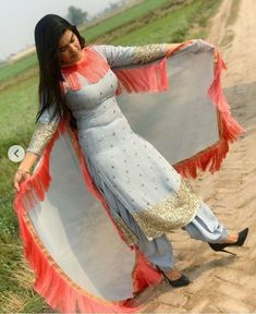 Stylish Dresses For Girls, Stylish Dress Designs, Designs For Dresses, Stylish Girl, Beautiful Girl Indian, Most Beautiful Indian Actress, Punjabi Girls, Punjabi Suits, Kaur B Suits