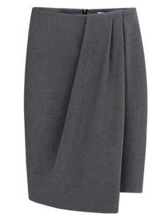 Grey Folds Asymmetrical Pencil Skirt