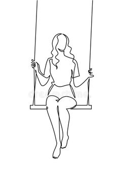 Continuous one line drawing youg woman swinging on swing. Continuous one line drawing youg woman swinging on swing. Mini Drawings, Cool Art Drawings, Simple Line Drawings, Pencil Art Drawings, Art Drawings Sketches, Easy Drawings, Dress Sketches, Drawing Faces, Outline Art