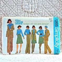 7265 SIMPLICITY Uncut PATTERN 1975 Women Unlined Cardigan Button Shirt Stand-Up Collar Scarf Front Zipper Pleated Pants Skirt Size 12 4-oz