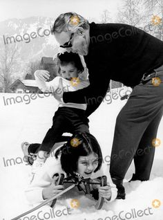 Prince Rainier with His Children Princess Stephanie and Princess Caroline in Switzerland 1968 #5649 Photo by Ipol Archive-ipol-Globe Photos, Inc.