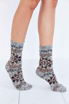 Blanket-Pattern Ankle Sock - Urban Outfitters 14.00