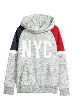 Sudadera con capucha y motivo - Gris claro jaspeado/NYC - NIÑOS   H&M ES 1