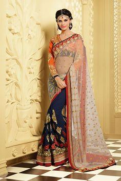 Designer Bridal Wear Embroidered Saree - $165.04