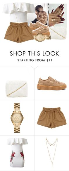 Spring 2k17 by eazybreezy305 ❤ liked on Polyvore featuring Forever 21, Puma, Michael Kors, WithChic, Wet Seal, cute, simpleoutfit, SpringStyle and Spring2017