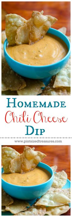 A super-easy chili cheese dip that doesn't use block, processed cheese! You can whip up this recipe on your stove in minutes! Easy homemade tortilla chips recipe is also included.