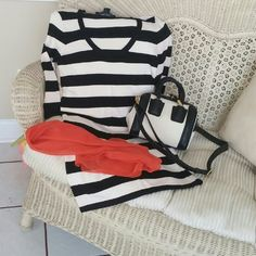 Dress Black and cream striped comfortable dress long sleeves and very stretchy.  No zipper or buttons.  So cute. Scarf and purse not included but available if interested French Connection Dresses Mini