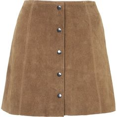 TOPSHOP PETITE Suede Button Front A-Line Skirt ($140) ❤ liked on Polyvore featuring skirts, bottoms, saias, clothes - skirts, petite, tan, petite a line skirt, suede a line skirt, suede leather skirt and knee length a line skirt